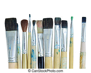 Varieties of painting brush isolated on white