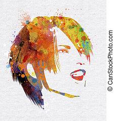 Grunge watercolour female face