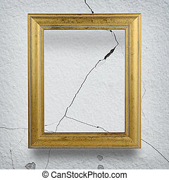 gyllene, vägg, ram,  cement, bakgrund, knäckt