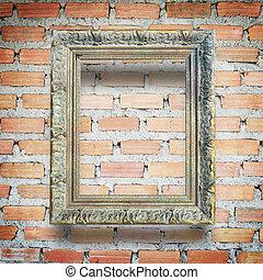 vägg, bakgrund, ram, tegelsten, klassisk