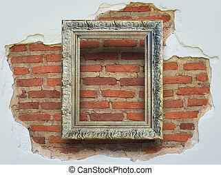 grunge, clássicas, parede, Quadro, fundo, tijolo