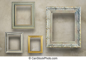 antikvitet, konkret, ram, vägg, ombyte