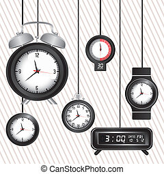 time icons - Illustration of clock and time icons,...