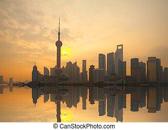 Shanghai bund landmark urban landscape at sunrise skyline