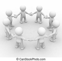 Team of 3d cute people in a circle