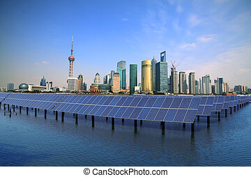 Shanghai Bund skyline landmark at Ecological energy Solar...