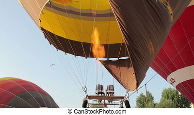 hot air balloons take part in the european balloon festival,...