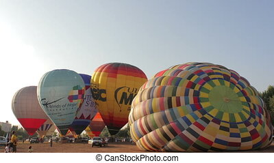 hot air balloons take part in the european balloon festival,...