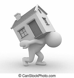 Moving home - 3d human carry a home to his back