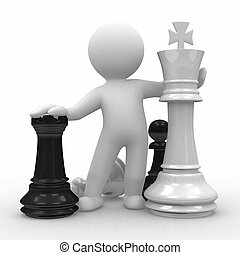 Chess - 3d human with big chess pieces