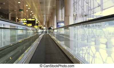 a rush around barcelona airport terminal, shot at super high...