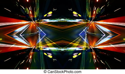 abstract timelapse of driving around barcelona at night with...