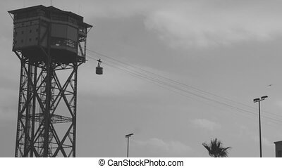 shot of the cablecar tower in barcelona
