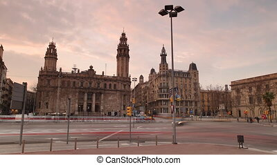early evening shot in barcelona of road crossing infront of...