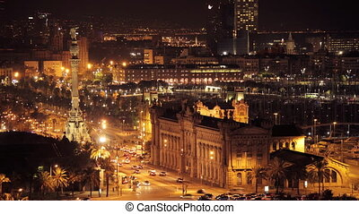 panoramic view of the city of barcelona at night, looking...