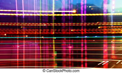 abstract pattern made from timelapse traffic and street scene shot at night