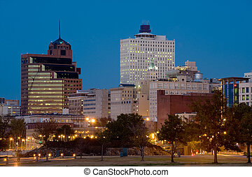 Memphis, TN - Downtown of Memphis, TN from Tom Lee park