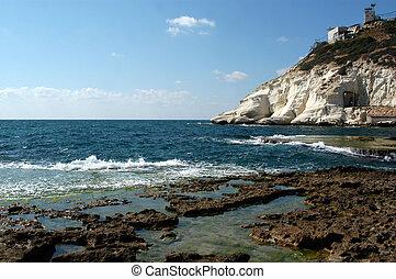 Rosh HaNikra Grottos - Israel - Rosh HaNikra - head of the...