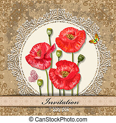 card design with poppy vintage