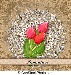card design with tulip vintage