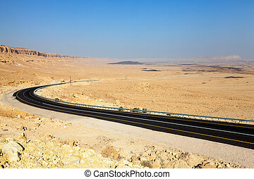 Desert highway - Road through Ramon crater in the Negev...