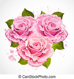 bouquet of roses in a retro design