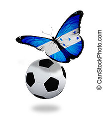 Concept - butterfly with Honduras flag flying near the ball, like football team playing