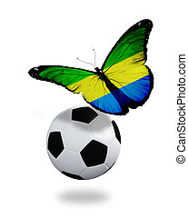 Concept - butterfly with Gabonese flag flying near the ball, like football team playing