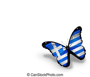 Greek flag butterfly, isolated on white background