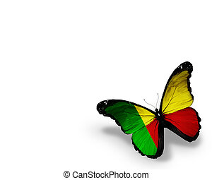 Benin flag butterfly, isolated on white background