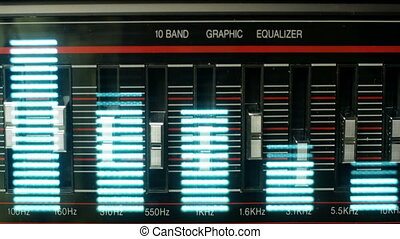 sequence made from images of a huge black retro hifi...