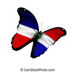 Dominican Republic flag butterfly flying, isolated on white...