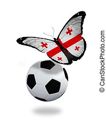 Concept - butterfly with Georgian flag flying near the ball, like football team playing
