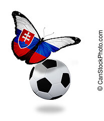 Concept - butterfly with Slovakian flag flying near the ball, like football team playing