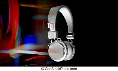 cool looking audio headphones, spinning around stop-motion...