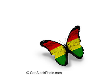 Bolivian flag butterfly, isolated on white background