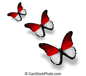 Three Indonesian flag butterflies, isolated on white