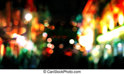 blurred nighttime shots in londons Piccadilly circus