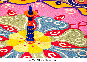 Indian kolam - Colorful Indian kolam
