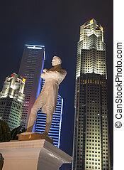 Sir Stamford Raffles statue at night, Singapore - Tourism...