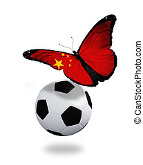 Concept - butterfly with Chinese flag flying near the ball, like football team playing