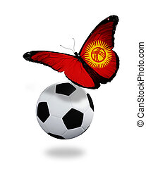 Concept - butterfly with Kyrgyz flag flying near the ball, like football team playing