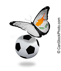 Concept - butterfly with Cyprian flag flying near the ball, like football team playing
