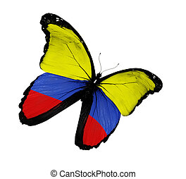 Colombian flag butterfly flying, isolated on white...