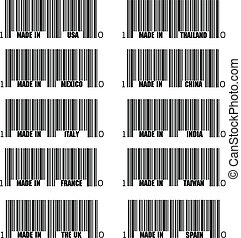 Set of black barcode of Made In symbols, including Italy,...