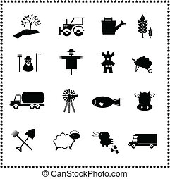 Agriculture and farming icons set, Vector illustration