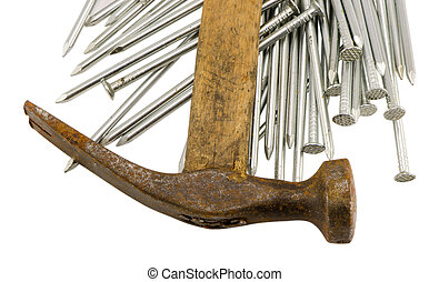 curvy vintage rusty hammer nails pile isolated - curvy...
