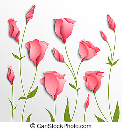 Flower vector background. Pink eustoma. Floral decor