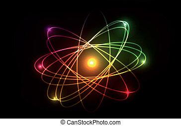Vector molecule of atom. Looks like plasma, neon or laser....