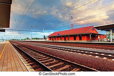 plataforma, trem, estação